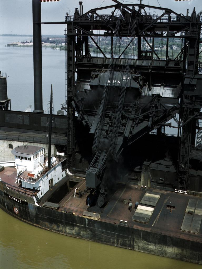 Loading coal into a lake freighter at the Pennsylvania Railroad docks, Sandusky, Ohio. 1943 May