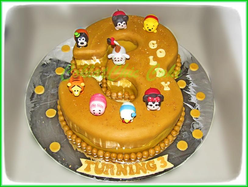 Cake angka 3 TsumTsum GOLDY 20 cm