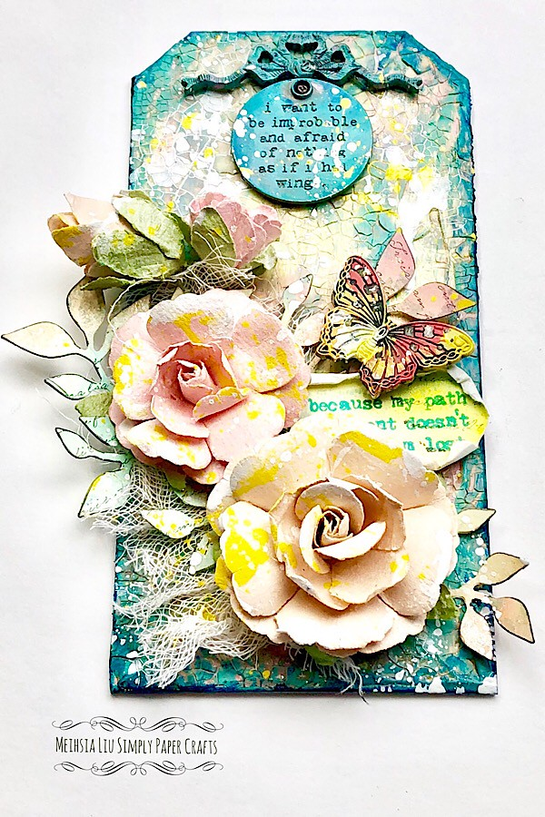 Meihsia Liu Simply Paper Crafts Mixed Media Tag Flower Power Simon Says Stamp Tim Holtz Prima Flowers 6