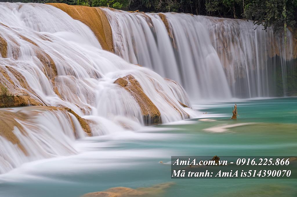 Tranh phong cảnh đẹp treo tường thác nước trắng xoa