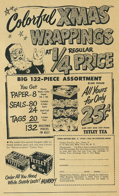 1950 Christmas Ad, Tetley Tea Co. & Colorful Xmas Wrappings Offer, Santa Claus