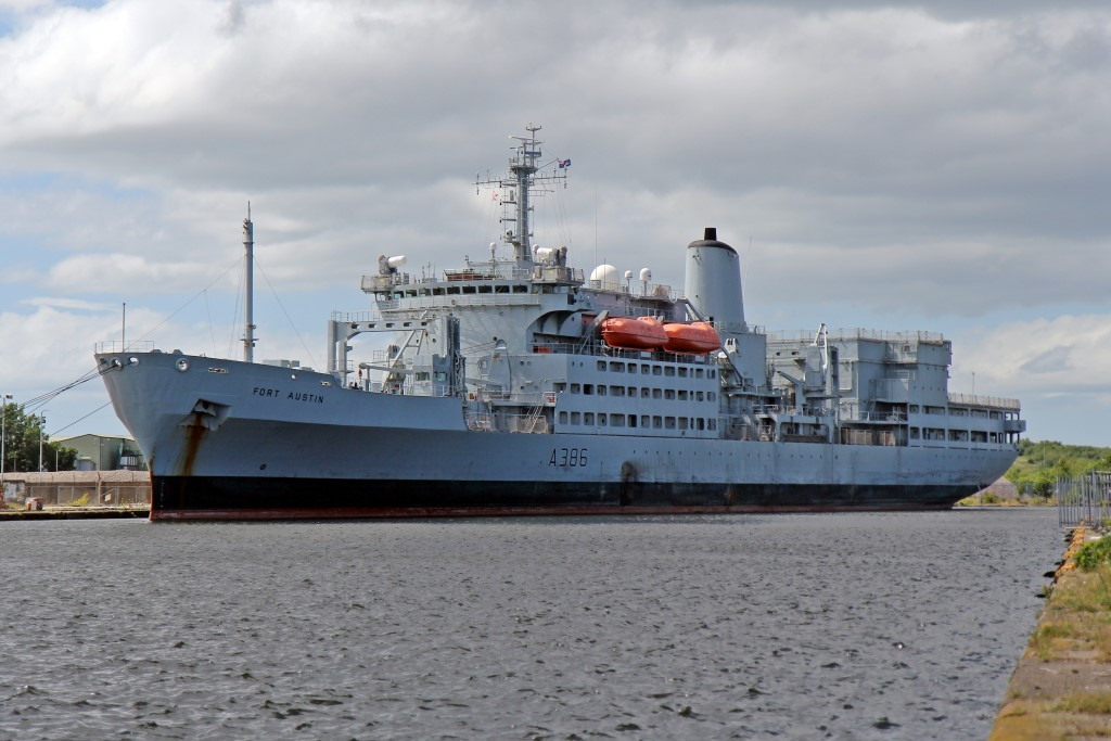 Royal Fleet Auxiliary ship RFA For Austin (A386), photographed at West Float, Birkenhead, on July 4, 2015.