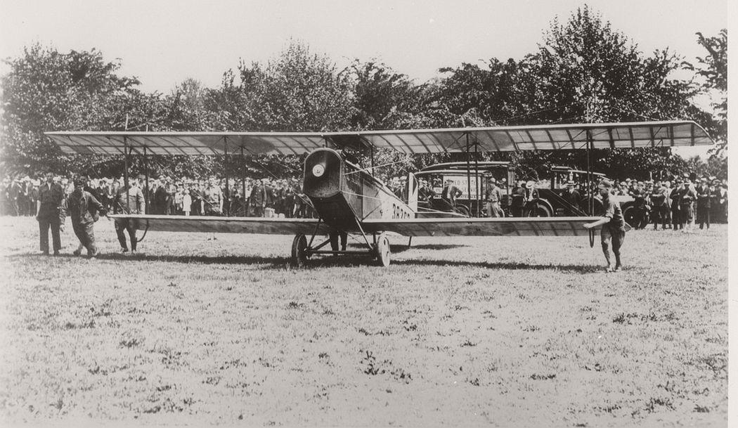 Curtis JN-4HM #38262 airmail plane taking off, May 15, 1918.