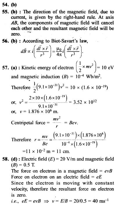 NEET AIPMT Physics Chapter Wise Solutions - Moving Charges and Magnetism explanation 54,55,56,57,58