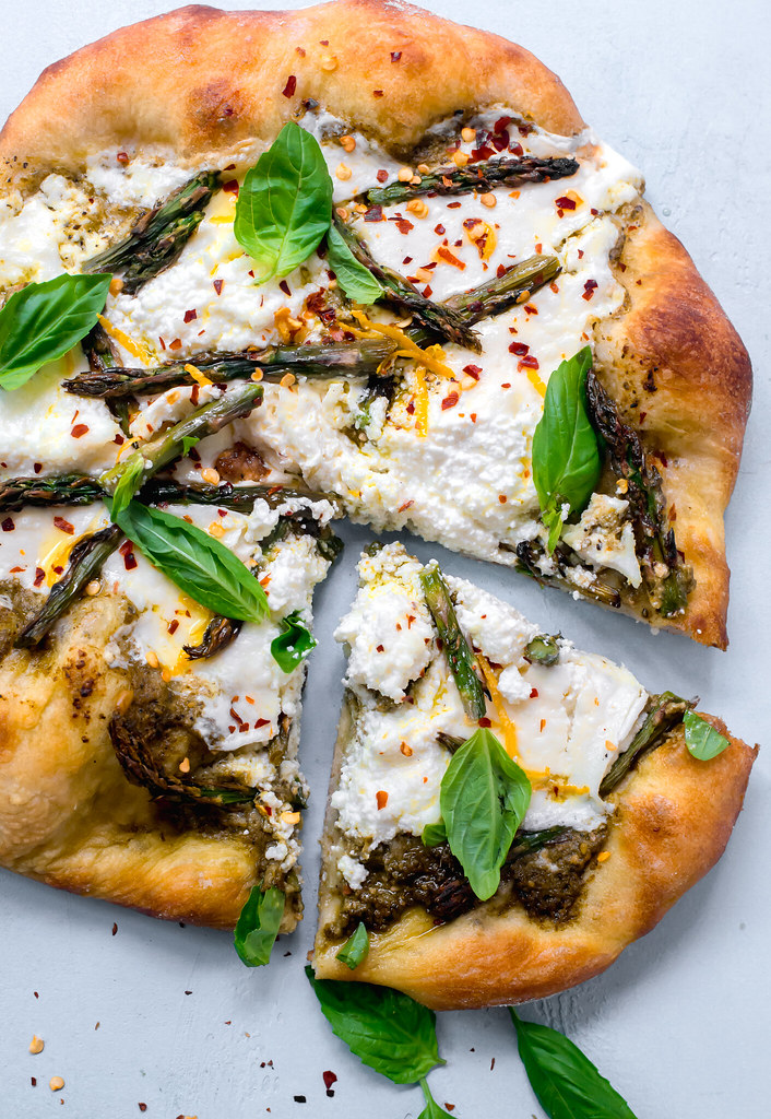 Spring Pizza with Pesto, Asparagus and fresh lemon zest.