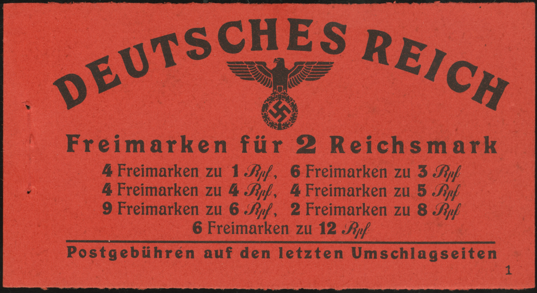 Front cover of Hitler Heads stamp booklet released in December 1941 containing five panes of stamps of various denominations. Six copies of Scott #513 are the fifth pane with two text labels. The booklet has the Michel catalogue number of Mi #MH49-3-1 .
