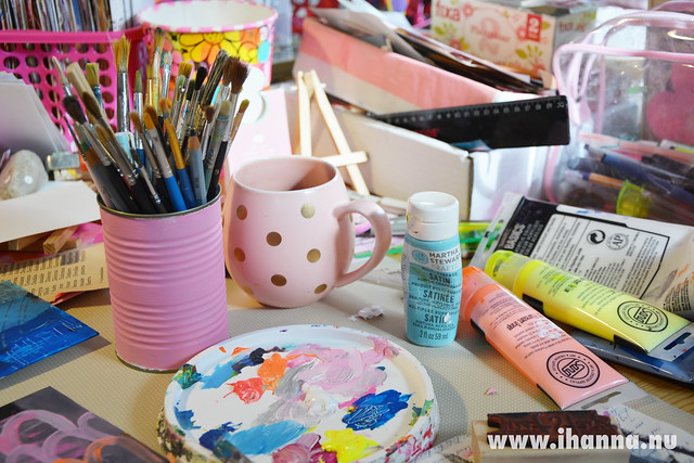 The desk at Studio iHanna, making handpainted postcards #diypostcardswap