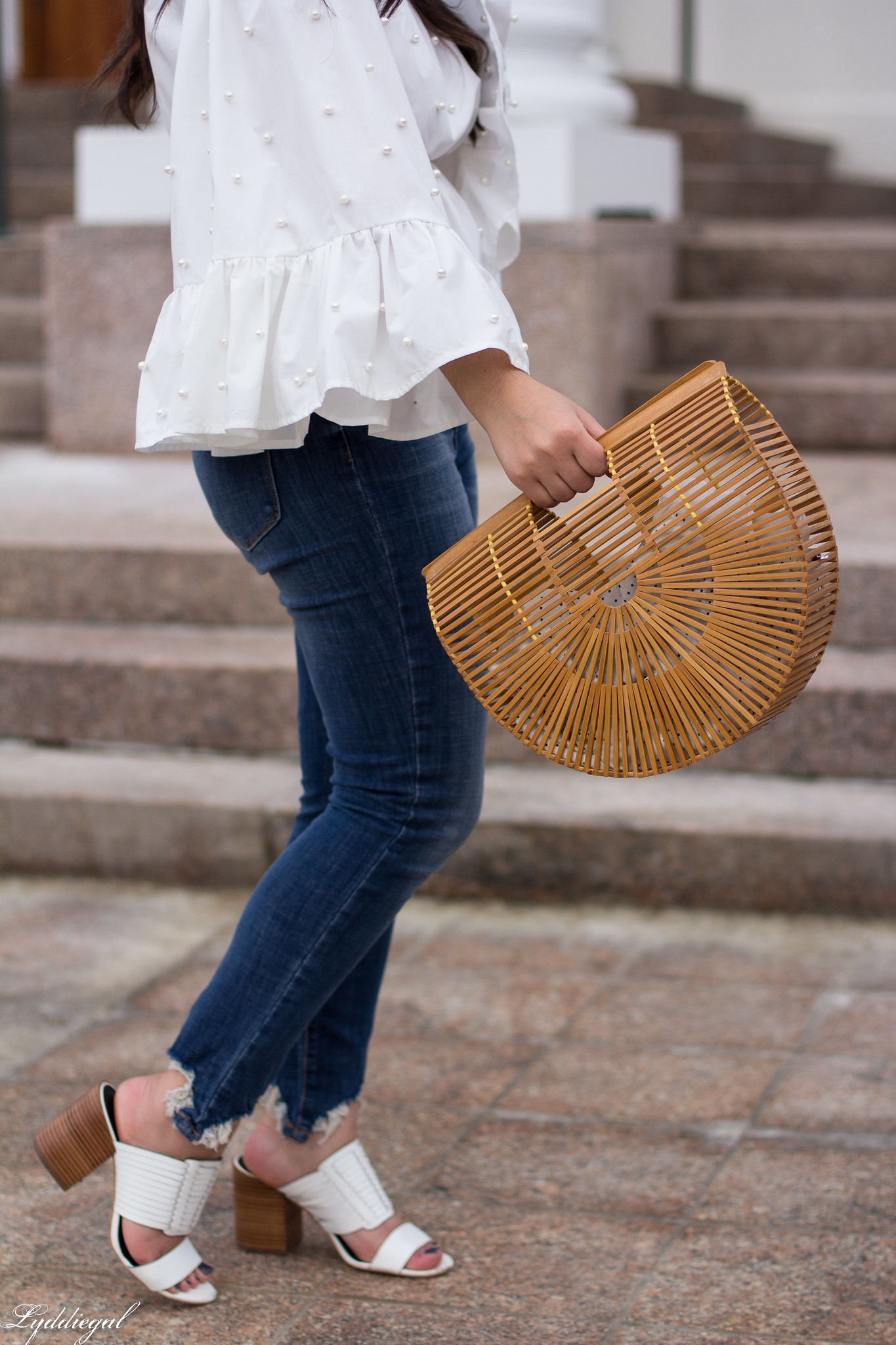 off the shoulder pearl embellished blouse, distressed denim, bamboo purse-9.jpg