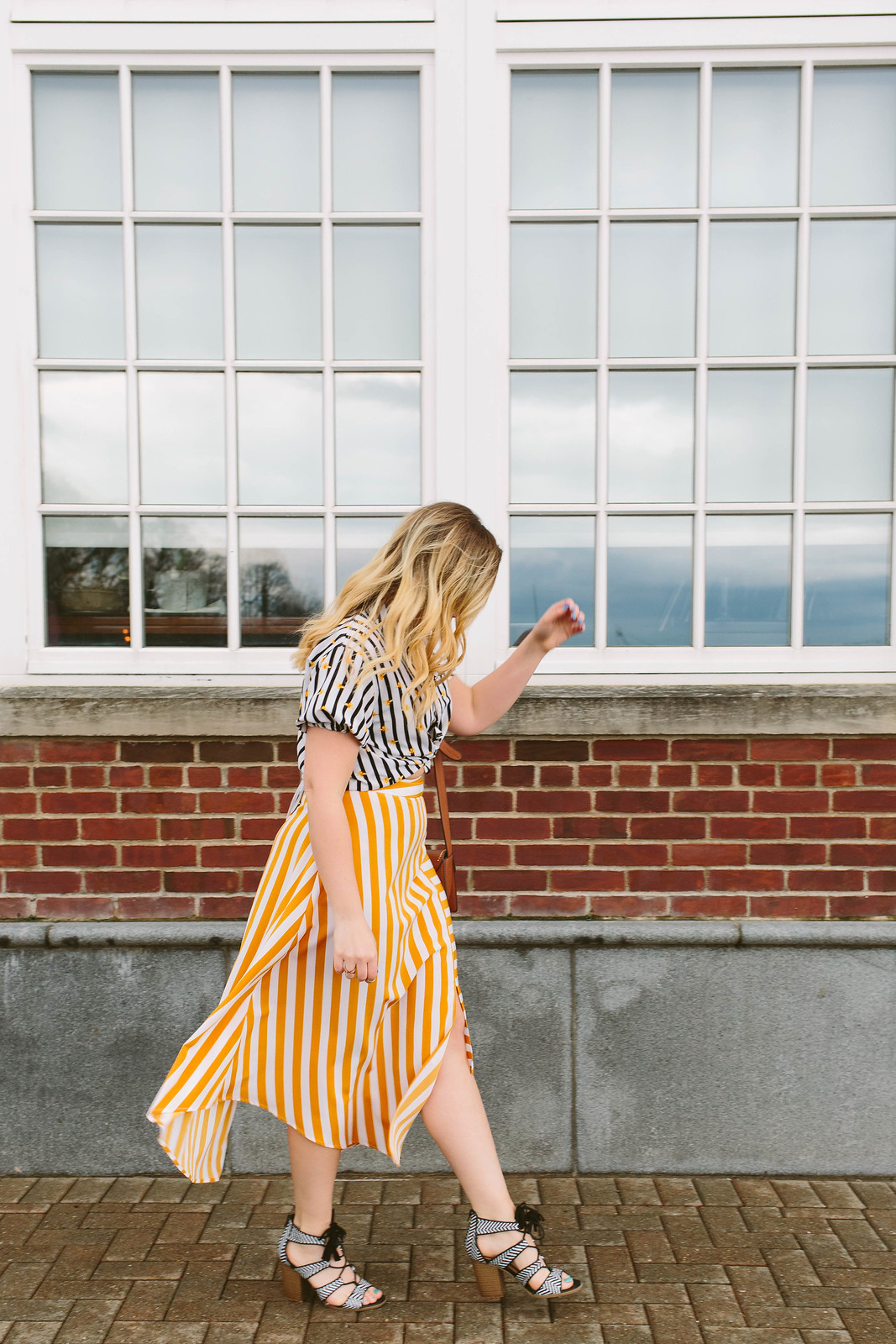 How to Dress Down a Midi Skirt Topshop Button Handkerchief Hem Midi Striped Skirt Topshop Alexa Bee Stripe Blouse Jackie Giardina Living After Midnite Blog