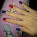 Miss Sporty metals (blue), H&M gel (red) & Kiko Rapid dry (red/ fuchsia glitter) nail polish.