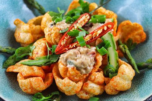 Kochen mit Chips Rezepte Veganer Spargel Dip für Snacketti Chips