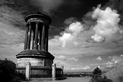 the leaning Dougal Stewart Monument