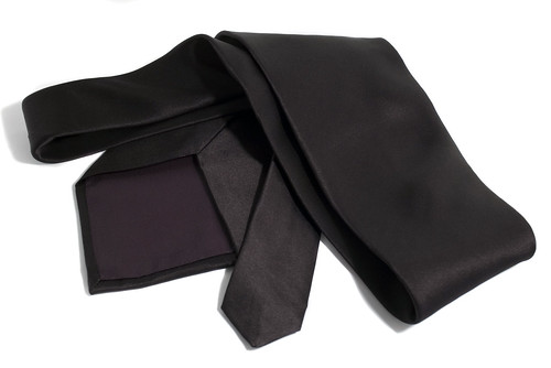 Black tie on white.