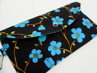 Wristlet Wallet-Blue Cherry Blossom on Black