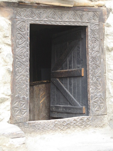 Carved wooden doorway into a traditional Hunza house, Baltit Fort, Karimabad