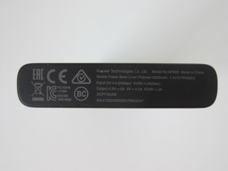 Huawei 10,000mAh SuperCharge Power Bank (AP09S) - Back