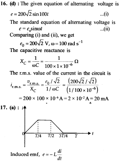 NEET AIPMT Physics Chapter Wise Solutions - Electromagnetic Induction and Alternating Current explanation 16,17