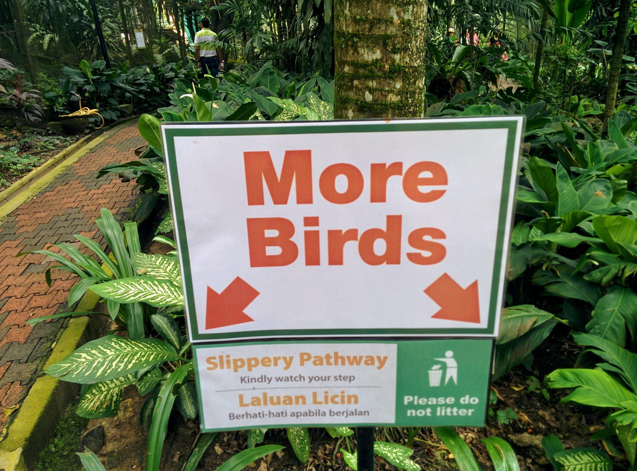 A sign in the bird park