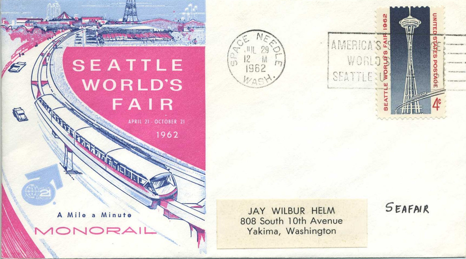 United States - Scott #1196 (1962) on cover posted from the Space Needle postal station with a cachet depicting the Monorail.