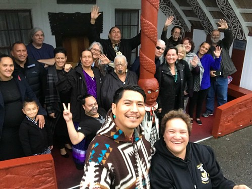 Deon's Navajo Nation Fair selfie stick comes in handy. A wonderful photo to celebrate our day with the Māori River People of  Whanganui, New Zealand