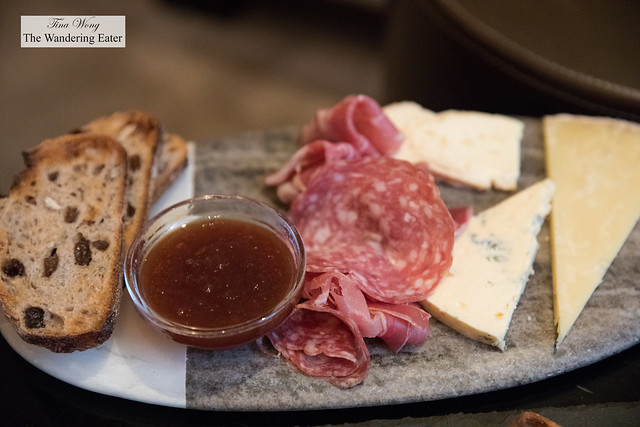 Chef's Selection of Cheeses and Cured Meats, Toasted Raisin and Walnut .Bread, Apple Butte