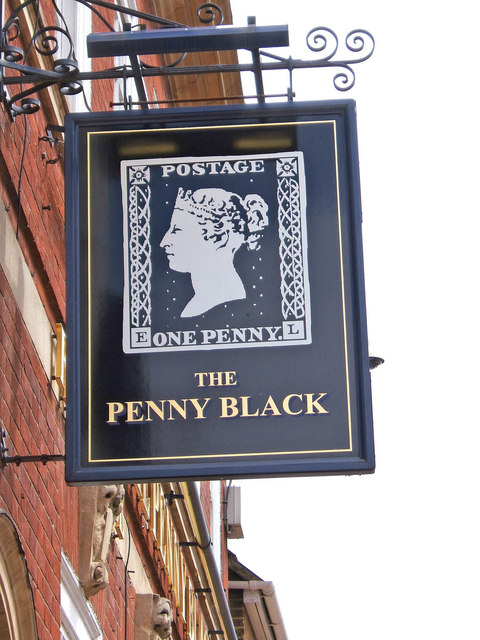 Sign of the Penny Black - a pub located at 58 Sheep Street, Bicester, Oxfordshire. Photo taken on June 12, 2008,