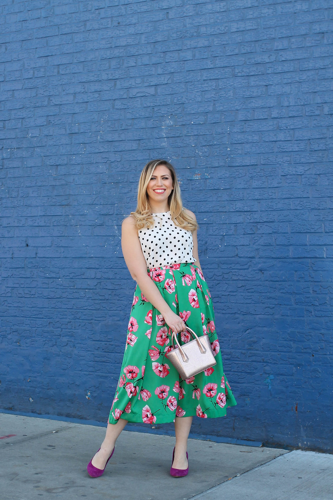Who What Wear for Target Spring Outfit Pattern Mixing Polka Dots Floral Print Jackie Giardina