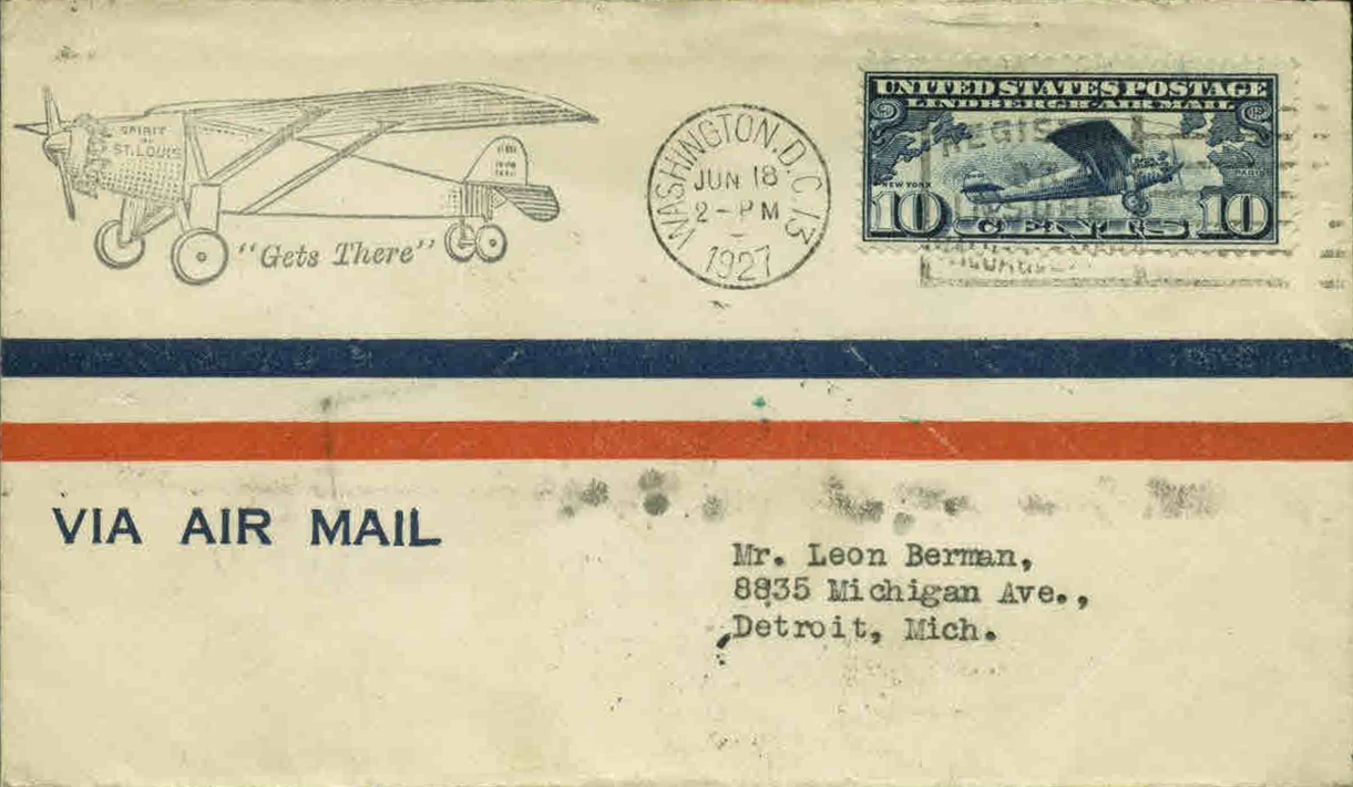 United States - Scott #C10 (1927) first day cover, postmarked in Washington, D.C.