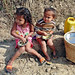 Nepal Village - 2 lovely kids seen supervising their uncle and aunty in their corn field.