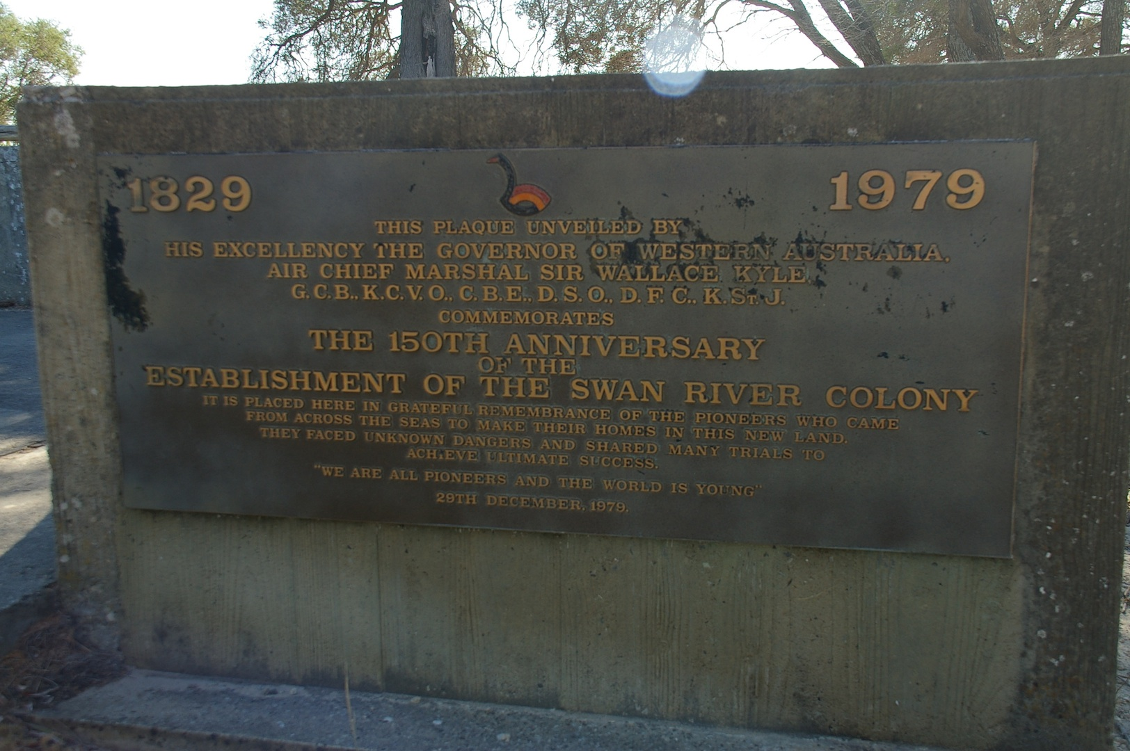 Monument on Garden Island, Perth, Western Australia, commemorating the 150th anniversary of the May 2, 1829, arrival of the first settlers of the Swan River Colony.