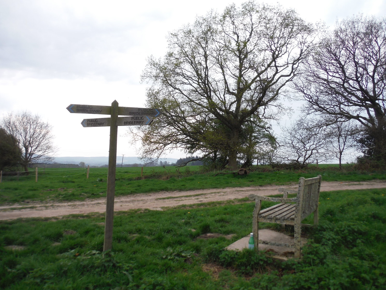 Four-way Signpost and Bench by Upper Vining Farm SWC Walk 48 Haslemere to Midhurst (via Lurgashall or Lickfold)
