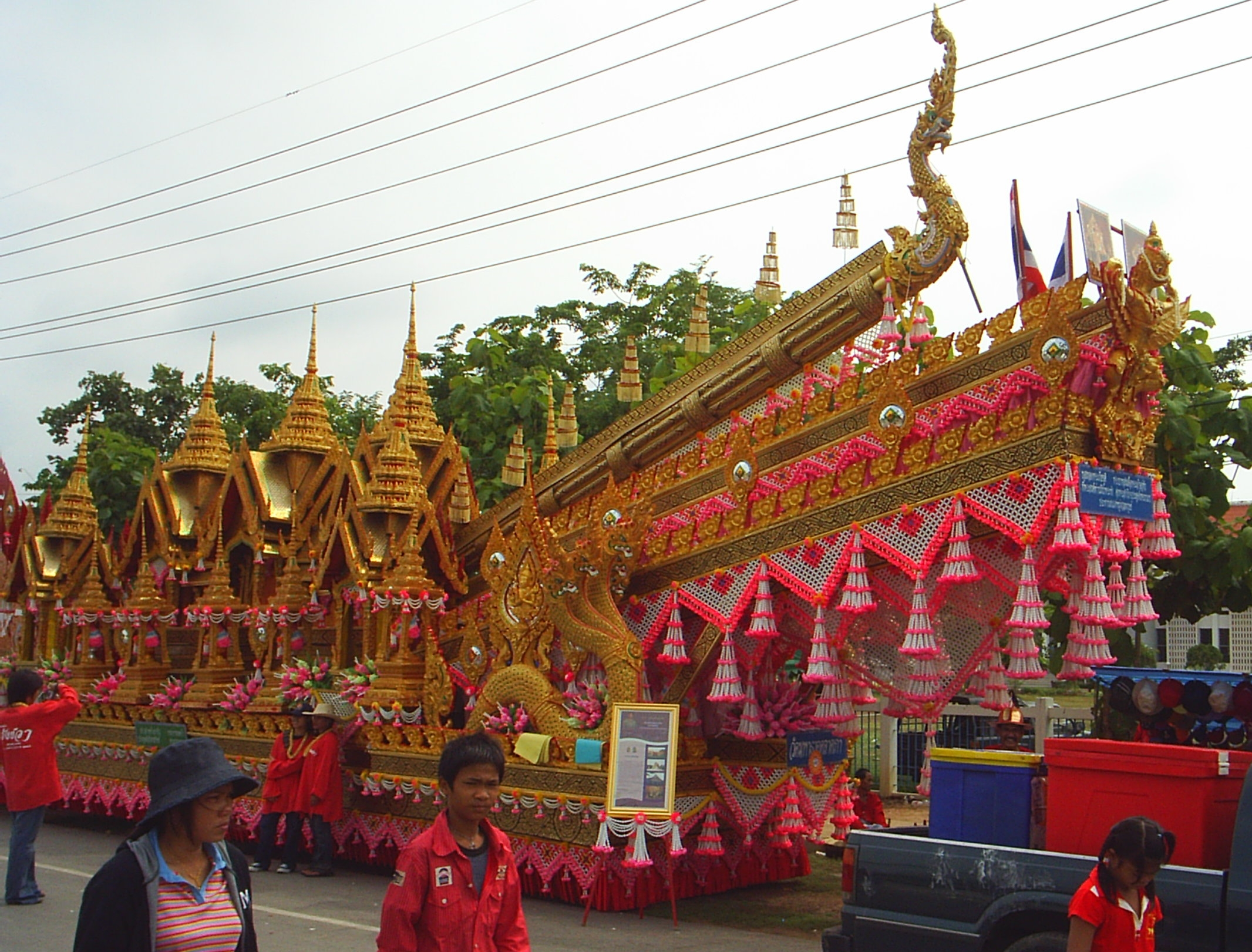 Rocket on a float in Yasothon, Thailand, prior to the Hae Bangfai Ko procession. Photo taken on May 16, 2005.