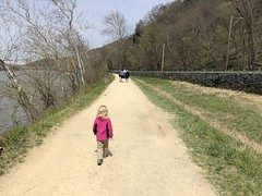 Madeleine walks with purpose on the C&O Trail