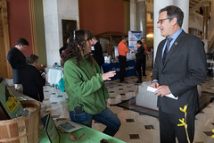 Rep. John Fusco talks with Diane Swanson, executive director of Pratt Nature Center during New Milford Day at the Capitol.