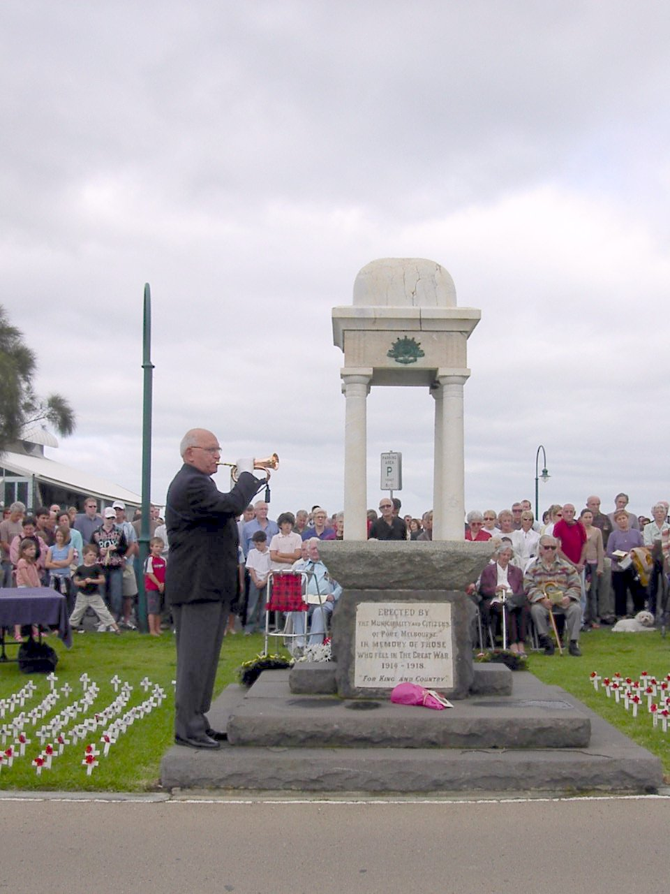 The Last Post is played at an Anzac Day ceremony in Port Melbourne, Victoria, on April 25, 2005. Ceremonies like this are held in virtually every suburb and town in Australia and New Zealand on Anzac Day each year.