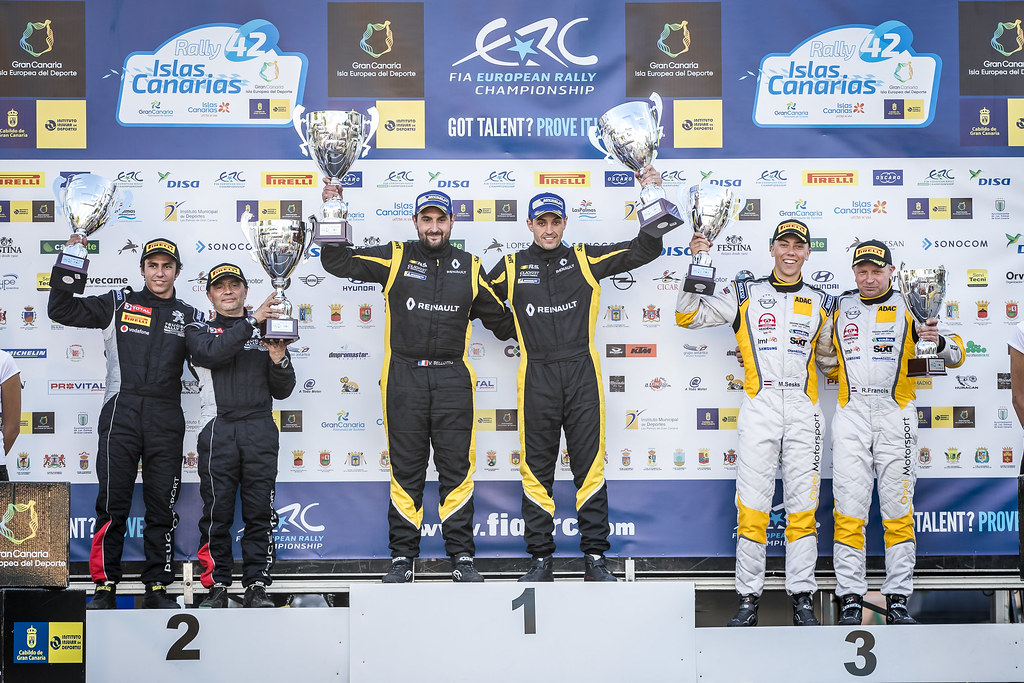 BERNARDI Florian, BELLOTTO Victor, Team Bernardi Florian, Renault Clio R.S., portrait GAGO Diogo, RAMALHO Miguel, Peugeot 208 R2, portrait SESKS Martin, RENARS Francis, Adac Opel Rallye junior team, OPEL ADAM R2, portrait podium ambiance during the 2018 European Rally Championship ERC Rally Islas Canarias, El Corte Inglés,  from May 3 to 5, at Las Palmas, Spain - Photo Gregory Lenormand / DPPI