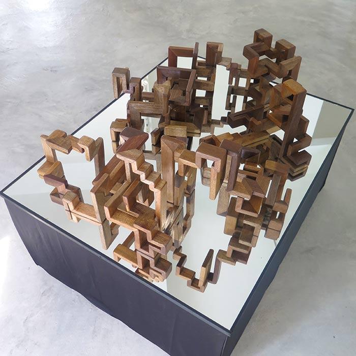 Mind -125x100x40 cm. wooden sculpture on mirror base 2018