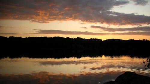 Aiguebelette lake at dusk