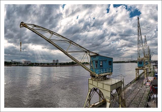 Old port cranes in the Port of Antwerp