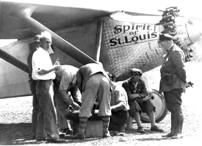 The Spirit of St. Louis undergoing servicing at Milwaukee, Wisconsin on August 20, 1927.
