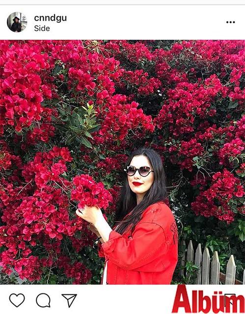 Canan Doğu, Side'de Begonvil çiçekleriyle çektirdiği fotoğrafıyla beğeni topladı.