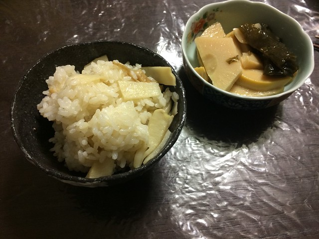 Boiled rice with TAKENOKO and CHIYU OIL