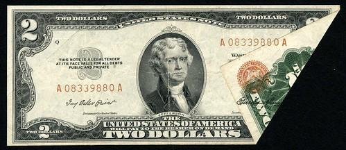1953 $2 Bill Printed Fold Error