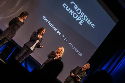 CE 18 - opening ceremony // Barbara Fränzen (Head of Film Department, Federal Chancellery of Austria), Regina Aspalter (Land OÖ), Christine Dollhofer (Festival Director), Neil Young (Moderator) // photo © Christoph Thorwartl / subtext.at
