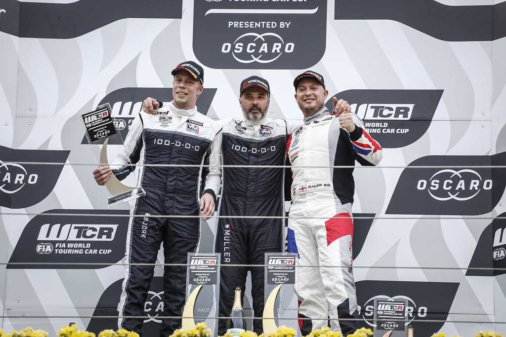 MULLER Yvan (FRA), YMR, Hyundai i30 N TCR, portrait BJORK Thed (SWE), YMR, Hyundai i30 N TCR, portrait HUFF Rob (GBR), Sebastien Loeb Racing, Volkswagen Golf GTI TCR, portrait podium ambiance during the 2018 FIA WTCR World Touring Car cup of Nurburgring, Nordschleife, Germany from May 10 to 12 - Photo Francois Flamand / DPPI