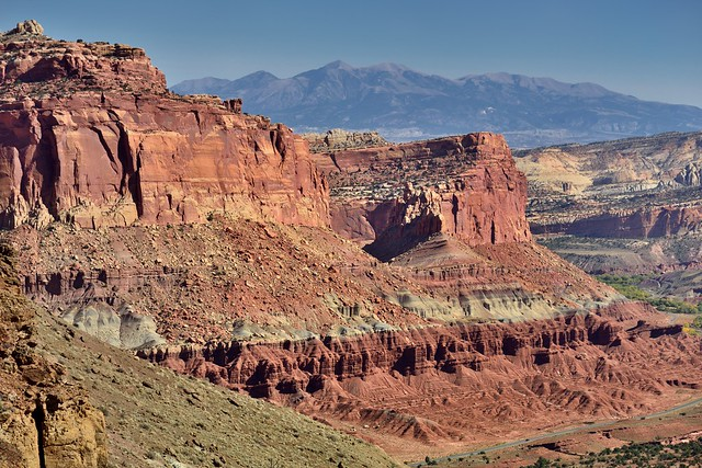 The Waterpocket Fold and Mountain Peaks of the Henry Mountains (Capitol Reef National Park)