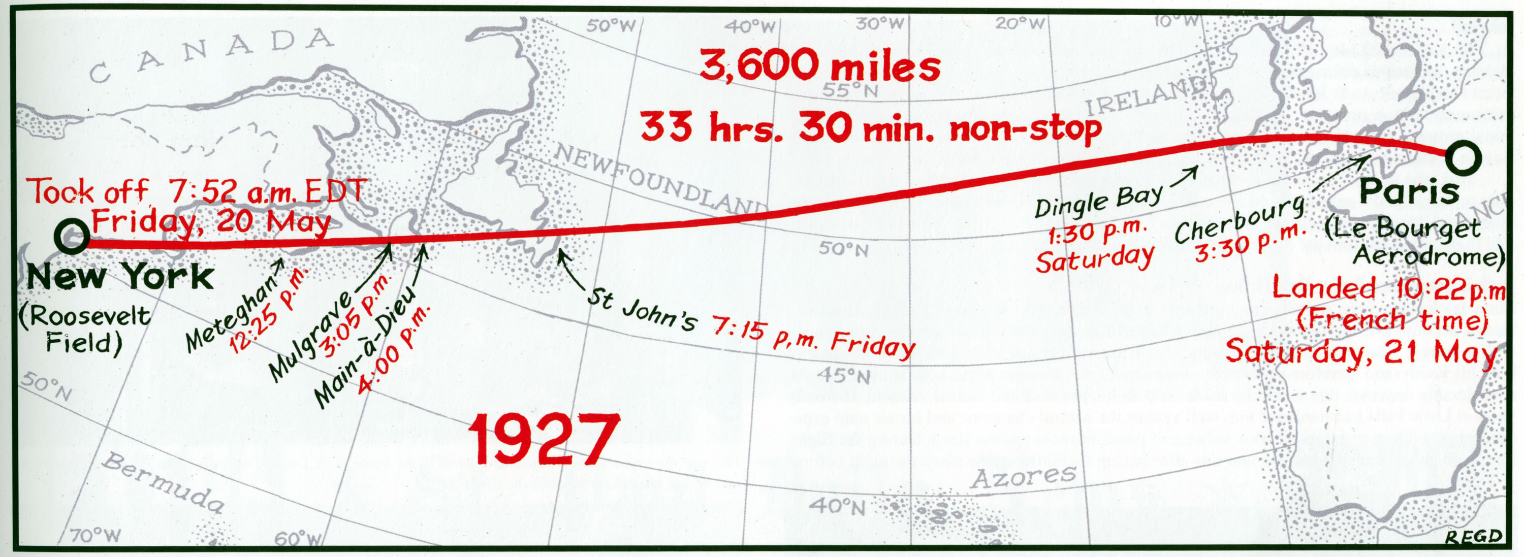 Map of Charles Lindbergh's May 20-21, 1927, first solo non-stop flight across the Atlantic Ocean, New York to Paris.