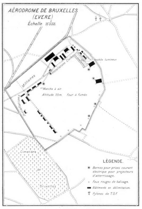 Map and plan of Evere Airfield, Brussels, Belgium, circa 1930.