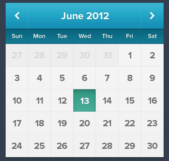 Calendar – web source PSD format for Photoshop