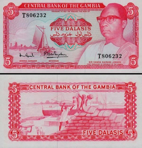 5 Dalasis Gambia 1972-86, P5